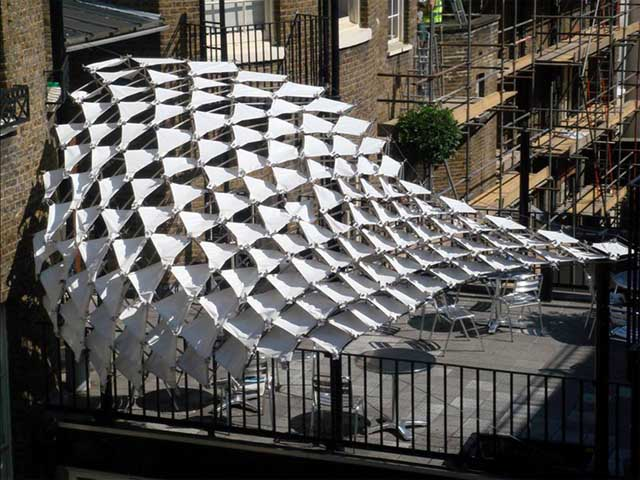 Aa emtech canopy kamvari architects for Steel shade structure design